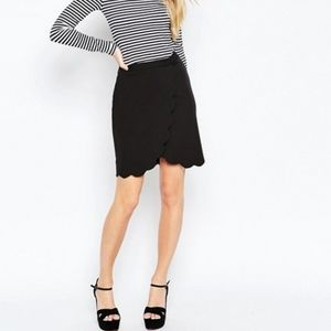 ASOS Pencil Wrap Scallop Detail Black Skirt SZ 8